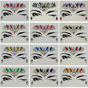 Wholesale diamond sticker tattoos for sale - Group buy Diamond Sticker Bohemia Style Glitter Crystal Tattoo Stickers For Women Face Forehead Paster Wedding Decorations styles RRA1183
