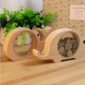 Wholesale Wooden Animal Money Saving Box Best Gifts for Kids Elephant Piggy Banks Pig Whale Hippo Money Storage Box