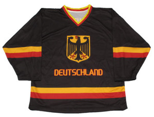 Wholesale Any size Goalie Cut #29 Leon Draisaitl Team Germany mens womens youth high quality Hockey Jersey Embroidery Stitch Customize any number name