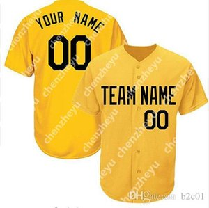 Wholesale Custom New Men Baseball Jersey Simple Neat Jerseys Pullover Button Cheap Yellow