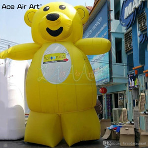 Customized standing animal model inflatable yellow bear,polar bear advertising model with free fan on sale