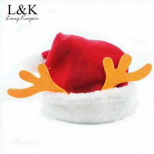 50pcs lot Antlers Baby Christmas Hat Adult Santa Claus Hats Xmas Caps Christmas Decorations For Festive Party Supplies Wholesale