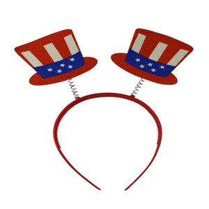 Red and White Striped 4th of July Memorial Day Holiday, Party Top Hat Patriotic Headband Blue American Flag