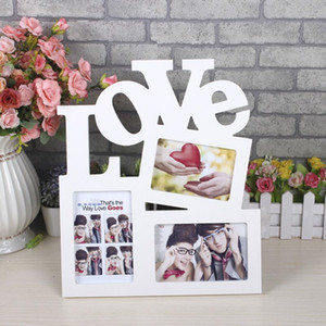Wholesale Fashion Rectangle PVC Photo Frame With FAMILY Letter Love DIY Picture Frame Art Craft Home Decor for Family Picture Display