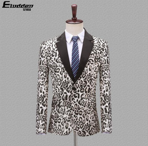 Wholesale Korean Blazer men groom suit Leopard pattern mens wedding suits costume singer star style dance stage clothing formal dress