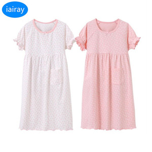 Wholesale iairay kids casual loose pajamas children summer home sleeping dress polka dot cotton nightdress girls nightgown sleeepwear