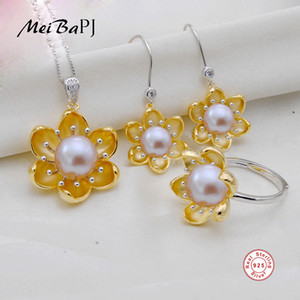 Wholesale MeiBaPJ New Fashion Real Sterling Silver Golden Flower Jewelry Set Natural Pearl Pendant Ring and Necklace Sets for Women