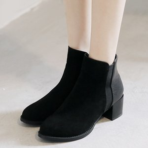 Wholesale European style contracted Tide Girl Boots Woman British Style Elegant Thick heel Suede Boots Martin New High heeled Shoes