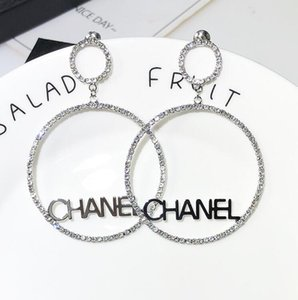 New Designer Circle Studded With Rhinestones And Letter Earrings For Women Fashion Bling Bling Stud Earring 925 Silver Needle Jewelry Gifts