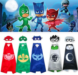 Wholesale PJ MASKS Capes Cloaks With Eye Mask set Colors PJ Mask Costumes PJ Characters Cosplay Capes Kids Halloween Party Costume Gifts