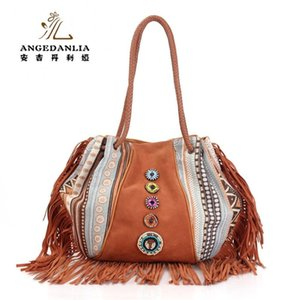 Wholesale vintage canvas and PU leather duffle handbag Bohemian telas hippies shoulder bag tassels national embroidery ethnic shoulder bag