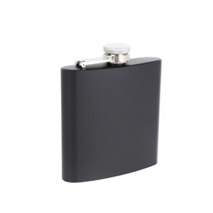 Wholesale weld caps resale online - Matt black oz Liquor Hip Flask Screw Cap stainless steel laser welding Personalized logo Free LX1168