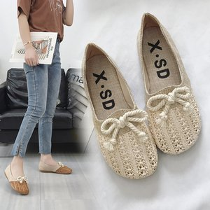 Lovely2019 Manual Weave Comfortable Ventilation Single Asakuchi Bow Set Foot Women's Shoes