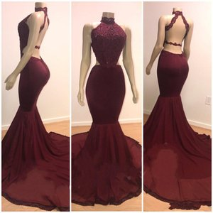 2019 Newest Burgundy Mermaid Prom Dresses Halter Neck Lace Appliques Beads Sleeveless Sexy Backless Sweep Train Party Evening Gowns on Sale