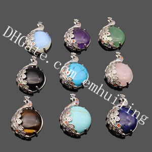 Wholesale 10Pcs Colorful Zircon Crystal Pave Alloy Peacock Wrapped Polished Smooth Natural Semi Precious Gemstone Cabochon Bead Charm Pendant Jewelry