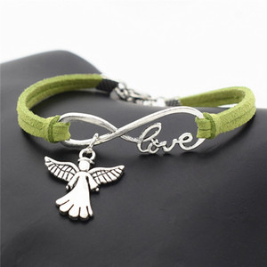 Hot Infinity Love Cute Wings Angel Friendship Charm Bracelet Green Leather Suede Vintage Bangles for Women Men Punk Jewelry Gift Cheap Price