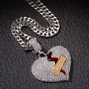 Wholesale aids day resale online - New Hip Hop Iced Out Full Diamond Band aid Heart breaking Pendant Broken Heart Alloy Necklace OK Stretch Love PendanH