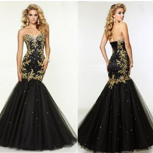 Black Sexy Strapless Evening Dresses Gold Lace Applique A Line Prom Dresses Tulle Floor Length Women Dress on Sale