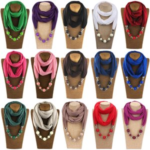 Wholesale 1 Pc Polyester Womens Fashion Neckerchief Ring Scarf Necklaces Beads Solid Color Jewelry Shawl High Quality