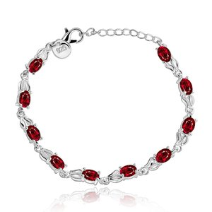 Wholesale Tin Alloy Bracelets S925 Silver Plated Red Round Beads Crystal Charm Bracelet Accessories Romantic Simple Jewelry Ladies Prom Gift POTALA350