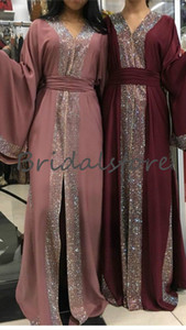 Wholesale Dubai Abaya Caftan Evening Dresses Bling Sequins Muslim Formal Prom Dress Plus Size Celebrity Evening Gown Saudi Arabia Dresses Evening Wear