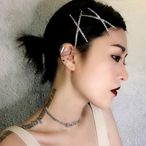 2pcs Korea Shiny silver Rhinestones Hair pins Crystal X-shaped hair clips Women Girls Barrettes V Hairgrip hair Fashion Jewelry