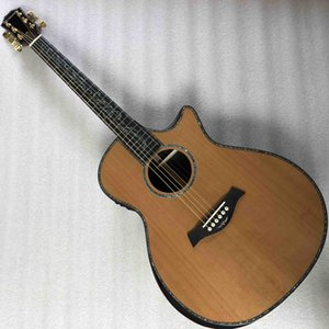 Wholesale deluxe electric guitar resale online - Real Abalone Solid Cedar Top Ebony Fingerboard Deluxe Acoustic Electric Guitar Custom Logo on Headstock is OK