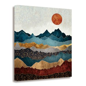 GEVES Abstract Mountain Sunrise Wall Art Paintings Landscape Canvas Prints Contemporary Artwork Pictures for Bedroom Living Room Framed