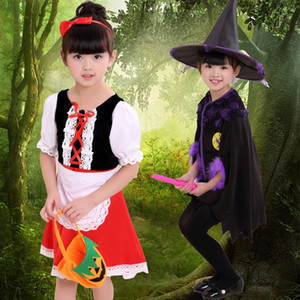 Wholesale Halloween Clothing Children Woman Show Serve Witch Dress Cos Small Red Hat Girl Masquerade Princess Skirt Performance