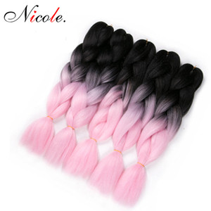 Wholesale kanekalon synthetic hair fiber for sale - Group buy Nicole Kanekalon Synthetic Jumbo Braiding Hair Pink Color High Temperature Fiber Christmas Crochet Braids Hair