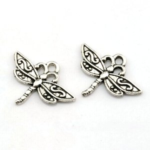 Wholesale Dragonfly Charms Pendants alloy Jewelry DIY Fit Bracelets Necklace Earrings Antique silver x mm