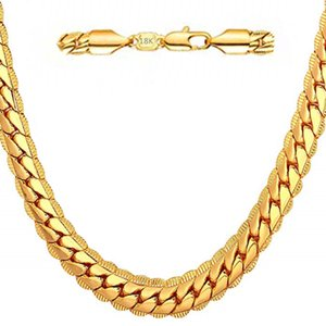 Wholesale 18K gold plated MM snake chain men s necklace fashion gold perfect men s jewelry hip hop accessories
