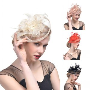 Wholesale Vintage Women Noiva Muiti Color Bridal Hats Face Veils Wedding Accessories Brides Fascinator Wedding Birdcage Veil Mesh Feathers