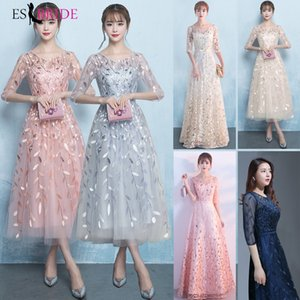 Wholesale Long Evening Gowns New prom dresses Elegant Princess Formal Dress Lace Special Occasion dress Party Robe De Soiree ES1645