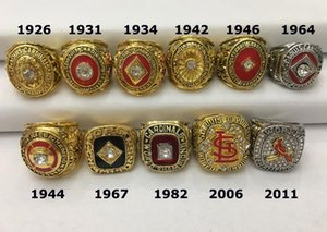 Wholesale 11pcs St Louis Cardinals World Baseball Champion Championship Ring with Wooden Display Box Souvenir Men Fan Gift Drop Shipping