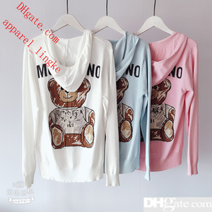 Wholesale 2019 Summer New Hooded Jacquard Cartoon Bear Luxury Women Clothes Long Sleeve Zipper Knit Jacket Shirt Crop Top Cardigan MO-S1