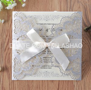 Wholesale Glittery wedding invitation card silver navy blue lovely birds laser cutting offer customized printing party decoration