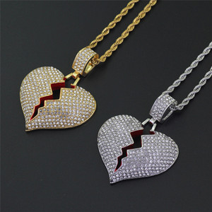 Wholesale broken heart chain for sale - Group buy Iced Out Broken Heart Necklace Pendant With Twist Chain Gold Color Bling Cubic Zircon Men s Hip hop Jewelry Gift