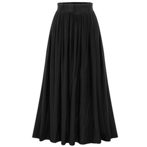 Wholesale Womens Stretch Elastic High Waist Summer Pleated Flared Skirt Long Maxi Dress