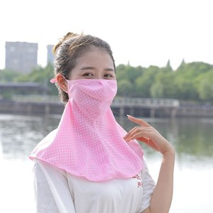 Wholesale Acrylic Wide Brim Dustproof Riding Breathable Travel Outdoor Shawl Dot Summer Anti UV Neck Protection Women Face Mask