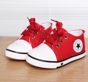 Wholesale Children s Canvas shoes spring and autumn fashion black five pointed star casual sneakers for boys red kids shoes for girl sneakers kids