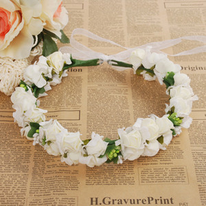 Wholesale Wedding Rose Flower Crown Artificial PE Flower Wreaths Bride Hairband Festival Travel Beach Hair Accessory Floral Garland