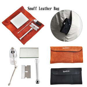 Wholesale New Genuine Leather Tobacco Pouch Bag Snuff Snorter Tool Sniffer Straw Hooter Hoover Pouch Bag Pipe Smoking Case Pill Bottle Box Case