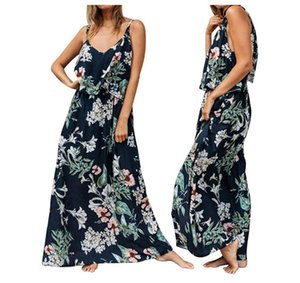 Wholesale Spaghetti Strap Womens Dresses Flora Printed V Neck Dresses Elegant Womens Clothing New Arrival