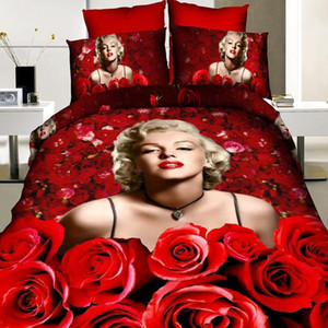 Wholesale marilyn monroe bedding for sale - Group buy Good quality Cotton D Red Marilyn Monroe Princess Bedding Sets Oil Print Duvet Cover bed sheet and pillowcases