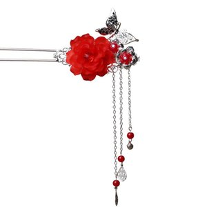 1Pcs Fashion Butterfly Flower Vintage Silver Hairpin Headdress Handmade Women Wedding jewelry Chinese Style Hair Stick Gift C19010501