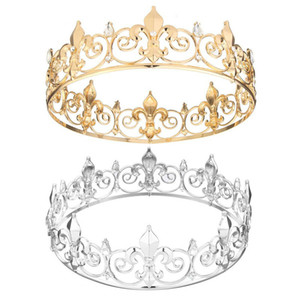 Wholesale Men King Crown Imperial Medieval Fleur De Lis Wedding Full Circle Round Tiara