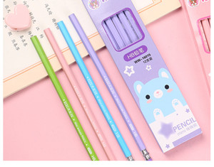 Wholesale wooden pencils hb for sale - Group buy Student cartoon pencil cute round hexagonal environmental boxed pencil HB children s calligraphy and painting brush wooden Pencils