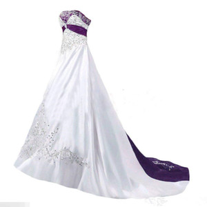 Wholesale vintage backless lace satin wedding dresses resale online - Vintage White and Purple Wedding Dresses Strapless Lace up Beaded Lace Embroidery Sweep Train Corset Plus Size Wedding Gown