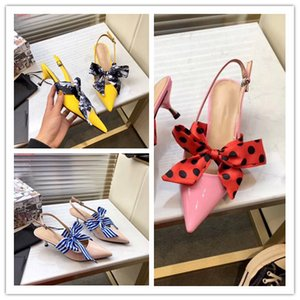 Wholesale 2019 Leather slingbacks bowknot low heel celebrities sandals Attend Pumps dress shoes sexy The party fashion NEW STYLE